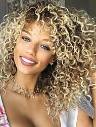 cheap -Synthetic Wig Curly Afro Curly Free Part Wig Short Ombre Color Synthetic Hair 14inch Women's Odor Free Adjustable Heat Resistant Ombre / African American Wig