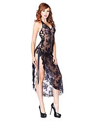 cheap -Women's Backless / Mesh / High Split Plus Size Super Sexy Suits Nightwear Solid Colored Black Red XXXXL XXXXXL XXXXXXL / Halter Neck