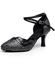 cheap -Women's Dance Shoes Modern Shoes Ballroom Shoes Heel Splicing Flared Heel Black Gold Silver Ankle Strap / Performance / Practice