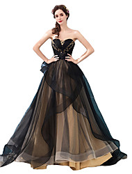 cheap -A-Line Strapless Sweep / Brush Train Tulle Elegant & Luxurious Formal Evening / Black Tie Gala Dress 2020 with Beading / Appliques