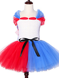 cheap -Suicide Squad Harley Quinn Tutu Dress Girls Fancy Party Kid Halloween Cosplay Costumes O-neck