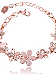 cheap -Women's White Diamond Cubic Zirconia Chain Bracelet Hollow Out Blessed Fashion Elegant Rhinestone Bracelet Jewelry Rose Gold For Gift Daily / Gold Plated