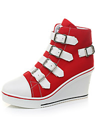 cheap -Women's Sneakers Sexy Shoes Wedge Heel Round Toe Buckle Canvas Casual / Minimalism Spring & Summer Black / Red / Pink
