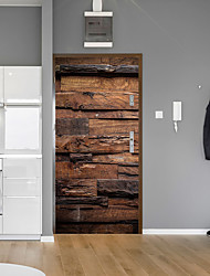 abordables -autocollants de porte en brique grain de bois rétro décoratif imperméable porte decal decal
