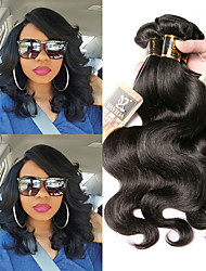 cheap -3 Bundles Indian Hair Body Wave 100% Remy Hair Weave Bundles 300 g Natural Color Hair Weaves / Hair Bulk Bundle Hair One Pack Solution 8-28 inch Natural Color Human Hair Weaves Odor Free Best Quality