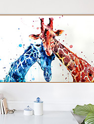 cheap -Framed Art Print Framed Canvas Prints - Abstract Animals PS Oil Painting Wall Art