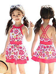 cheap -Girls' Swim Dress Swimwear Breathable Quick Dry Sleeveless Swimming Surfing Water Sports Painting Floral / Botanical Autumn / Fall Spring Summer / Micro-elastic / Kid's