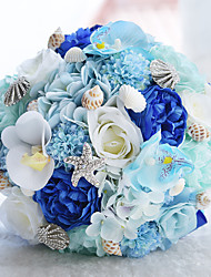 """cheap -Wedding Flowers Bouquets Wedding / Wedding Party Taffeta / Lace / Polyester 10.24""""(Approx.26cm)"""
