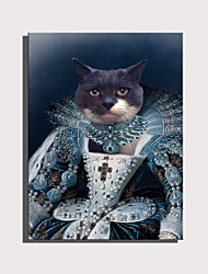 cheap -E-HOME Stretched Canvas Art Cute Animal Series - Shakespeare's Noble Cat Decoration Painting  One Pcs
