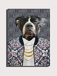 cheap -E-HOME Stretched Canvas Art Cute Animal Series - Domineering Dogs  Decoration Painting  One Pcs