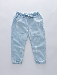 cheap -Kids Boys' Basic Street chic Solid Colored Hole Ripped Drawstring Cotton Jeans Light Blue