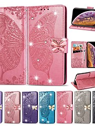 cheap -Phone Case For Apple Full Body Case Leather Wallet Card iPhone 12 Pro Max 11 SE 2020 X XR XS Max 8 7 6 Wallet Card Holder Shockproof Butterfly Solid Color Hard PU Leather