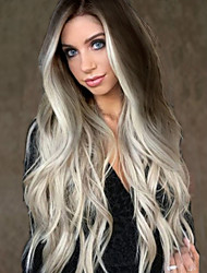 cheap -Synthetic Wig Wavy Asymmetrical Wig Long Grey Synthetic Hair 28 inch Women's Party Gray