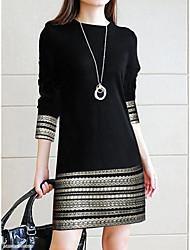 cheap -Women's Daily Basic Elegant Slim Sheath Dress - Geometric Stripes Color Block Spring Cotton Black S M L XL