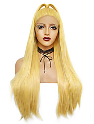 cheap -Synthetic Wig / Synthetic Lace Front Wig Straight Kardashian Style Free Part Lace Front Wig Ombre Yellow Synthetic Hair 26inch Women's Odor Free / Soft / Easy to Carry Ombre Wig Long Cosplay Wig