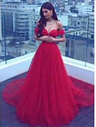 cheap -A-Line Off Shoulder Court Train Chiffon Elegant Formal Evening Dress 2020 with