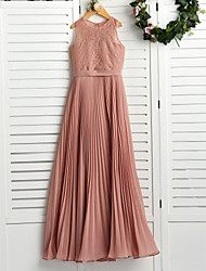 cheap -A-Line Crew Neck Maxi Chiffon / Lace Junior Bridesmaid Dress with Lace / Pleats