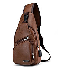 cheap -Men's Bags PU Leather Sling Shoulder Bag Zipper for Daily / Outdoor Dark Brown / Black / Brown