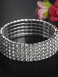 cheap -Women's Bracelet Bangles Tennis Bracelet Wide Bangle Classic Precious Stylish Basic Rhinestone Bracelet Jewelry Silver For Wedding Party Holiday / Silver Plated