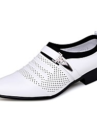 cheap -Men's Formal Shoes PU Spring / Summer Casual / British Loafers & Slip-Ons Breathable Black / White / Party & Evening