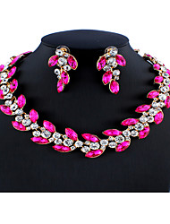 cheap -Women's Fuchsia Bridal Jewelry Sets Link / Chain Leaf Luxury European Fashion Rhinestone Earrings Jewelry Rose Red For Wedding Party Engagement Gift Festival 1 set