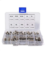 cheap -100pcs Fast-blow Glass Fuses Assorted Kit 5x20mm 250V 0.1 0.2 0.5 1 3  6  8 10 12 15A Tube Fuses with Plastic Box