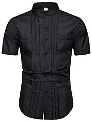 cheap -Men's Daily Work Basic Shirt - Solid Colored Black