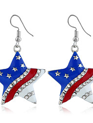cheap -Women's Cubic Zirconia Earrings Classic American flag Star Flag Patriotic Jewelry European Trendy Sweet Modern Earrings Jewelry Silver For Daily Street Festival 1 Pair