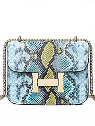 cheap -Women's Buttons / Chain Patent Leather Crossbody Bag Color Block Blushing Pink / Yellow / Blue / Snakeskin