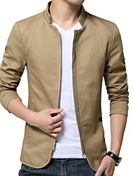 cheap -Men's Daily Regular Jacket, Solid Colored Stand Long Sleeve Polyester Beige / Navy Blue / Khaki