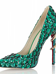 cheap -Women's Heels Stiletto Heel Rhinestone / Beading Synthetics British / Minimalism Spring &  Fall / Fall & Winter Green / Wedding / Party & Evening / Party & Evening