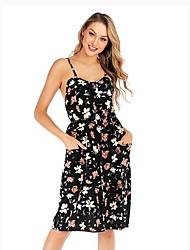 cheap -Women's Black Dress Basic Swing Geometric Strap S M