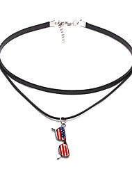 cheap -Women's Choker Necklace American flag Flag Patriotic Jewelry European Trendy Casual / Sporty PU Leather Chrome Black Silver 31+5 cm Necklace Jewelry 1pc For Gift Daily Festival