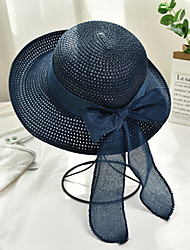cheap -Women's Active Basic Cute Straw Straw Hat Sun Hat-Color Block All Seasons Navy Blue Purple Khaki