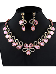 cheap -Women's Pink Bridal Jewelry Sets Link / Chain Leaf Simple Fashion Rhinestone Earrings Jewelry Pink For Wedding Party Engagement Gift Festival 1 set