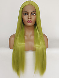 cheap -Synthetic Lace Front Wig Straight Middle Part Lace Front Wig Long Green Synthetic Hair 22-26 inch Women's Heat Resistant Women Hot Sale Green / Glueless