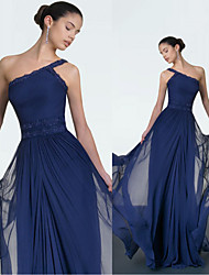 cheap -A-Line One Shoulder Floor Length Chiffon Elegant Formal Evening Dress with Appliques / Draping 2020