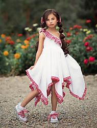 cheap -Toddler Girls' Sweet Cute Patchwork Backless Pleated Sleeveless Asymmetrical Dress White