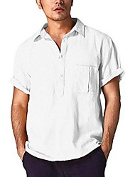 cheap -Men's Daily Wear Shirt - Solid Colored Black / Short Sleeve