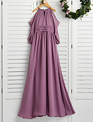 cheap -A-Line Crew Neck Floor Length Chiffon Junior Bridesmaid Dress with Ruching / Wedding Party