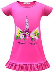 cheap -Kids Toddler Girls' Active Street chic Unicorn Cartoon Short Sleeve Above Knee Dress Blushing Pink