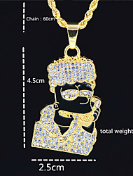 cheap -Men's Women's Gold Chain Necklace Statement Necklace Chains Layered Totem Series Face Statement Punk Trendy Rock Zircon Chrome 24K Gold Plated Gold Black 70 cm Necklace Jewelry 1pc For Carnival