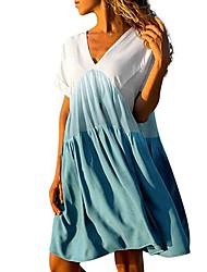 cheap -Women's Basic A Line Dress - Color Block Print V Neck Black Blue Red S M L XL