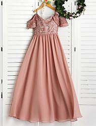 cheap -A-Line Spaghetti Strap Floor Length Chiffon Junior Bridesmaid Dress with Appliques