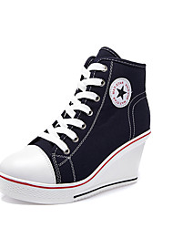 cheap -Women's Sneakers Sexy Shoes Wedge Heel Round Toe Canvas Casual / Minimalism Spring & Summer Red / Blue / Pink