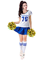 cheap -Cheerleader Cosplay Costume Masquerade Adults' Women's Cosplay Halloween Christmas Halloween Carnival Festival / Holiday Polyster White / Red / Blue Carnival Costumes Color Block Quotes & Sayings