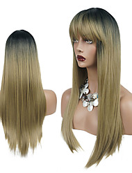 cheap -Synthetic Wig Straight Neat Bang Wig Ombre Long Grey Honey Blonde Synthetic Hair 24 inch Women's Synthetic Gray Ombre