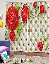 cheap -3D Digital Printing Custom Polyester Floral Privacy Two Panels Curtain for Garden   Living Room Decorative Waterproof Curtains