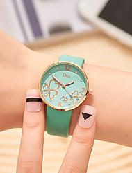 cheap -Women's Quartz Watches Flower Fashion Black White Green PU Leather Chinese Quartz Gray Light Green Burgundy New Design Imitation Diamond 1 pc Analog