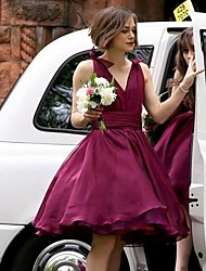 cheap -A-Line V Neck Short / Mini Chiffon Bridesmaid Dress with Sash / Ribbon / Ruching